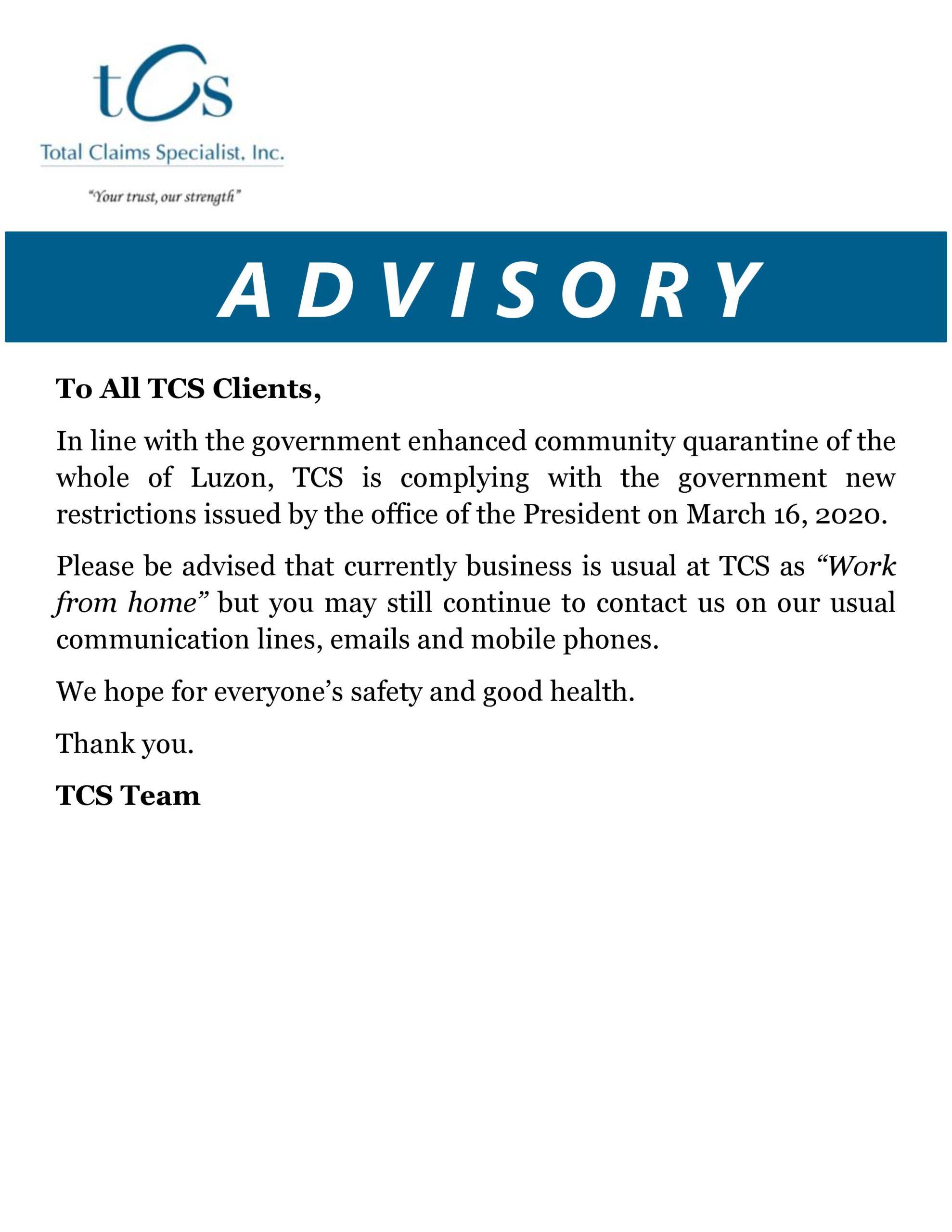 TCS Client Advisory