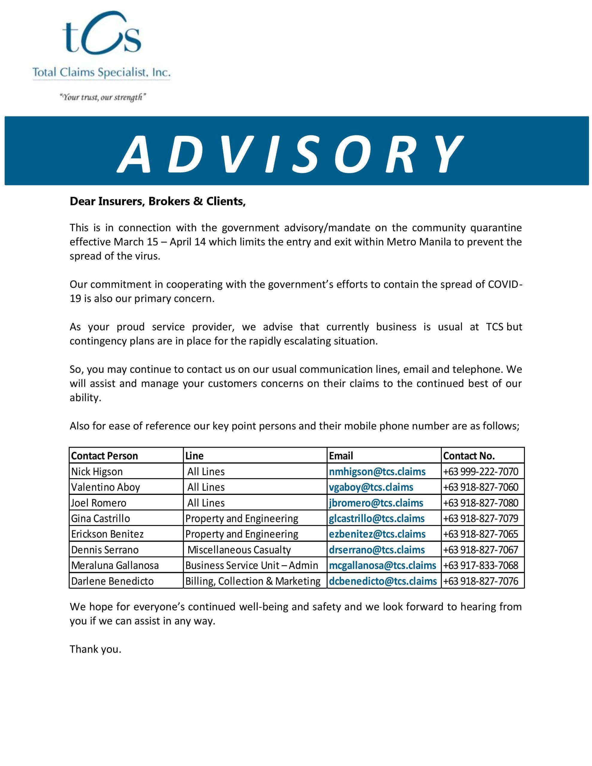 TCS COVID-19 Advisory